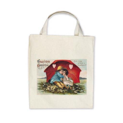 Vintage Boy and Girl Valentine Organic Tote Canvas Bag