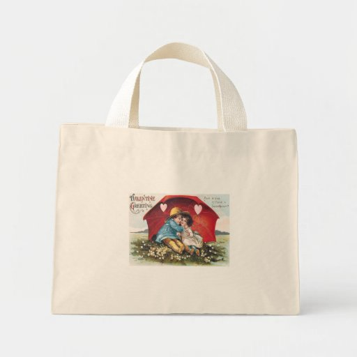 Vintage Boy and Girl Valentine Tiny Tote Tote Bag