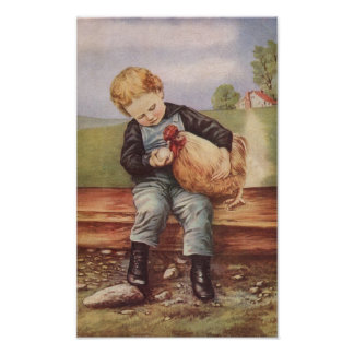 Vintage Boy and His Pet Chicken Posters