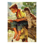 Vintage Boy and Pet Dog Fishing Child Birthday Cards