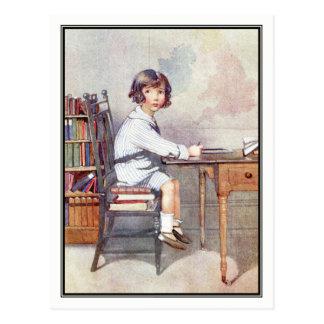 Vintage Boy at School - Honor C. Appleton Postcard