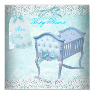 Vintage Boy Baby Shower Blue Lace Crib Card