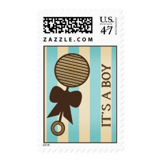 Vintage Boy Baby Shower Blue Stripes & Rattle Stamp