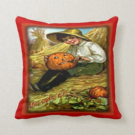Vintage Boy Carving Pumpkin Halloween Pillows
