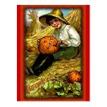 Vintage Boy Carving Pumpkin Halloween Postcard