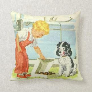 Vintage Boy Feeds Dog Pillow