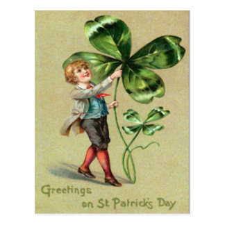 Vintage Boy Four Leaf Clover St Patrick's Day Card