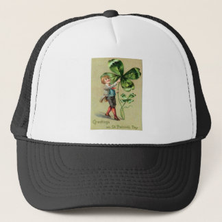 Vintage Boy Four Leaf Clover St Patrick's Day Card Trucker Hat