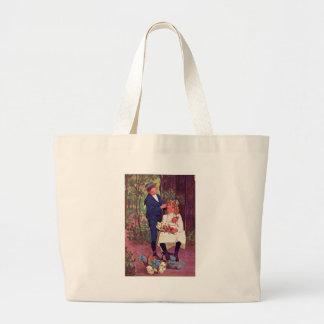 Vintage - Boy & Girl in the Woods Jumbo Tote Bag