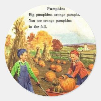Vintage Boy & Girl Pumpkins Classic Round Sticker