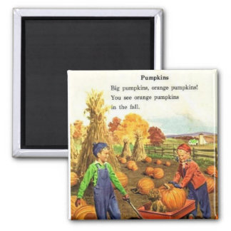 Vintage Boy & Girl with Pumpkins 2 Inch Square Magnet