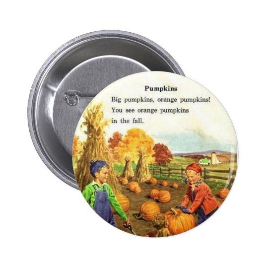 Vintage Boy & Girl with Pumpkins Button