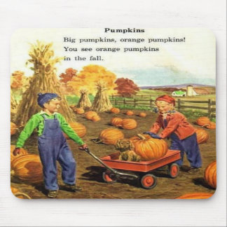 Vintage Boy & Girl with Pumpkins Mouse Pads