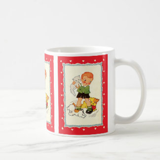 Vintage Boy Holding a Kitten with Racing Puppies Coffee Mug