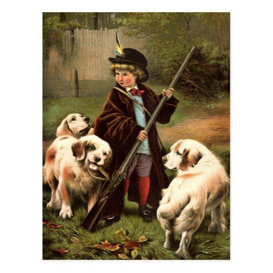 Vintage Boy Hunting Postcard