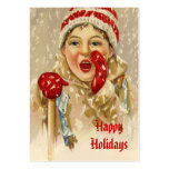 Vintage Boy in the Snow Large Business Cards (Pack Of 100)