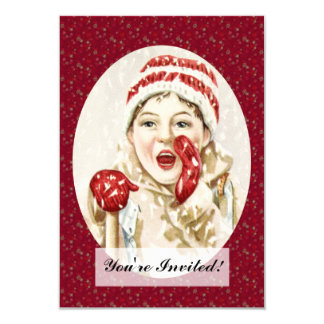 Vintage Boy in the Snow Card