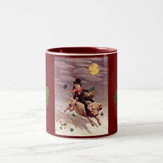 Vintage Boy on a Pig Mug Two-Tone Mug