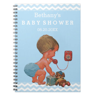 Vintage Boy on Phone Baby Shower Guest Book