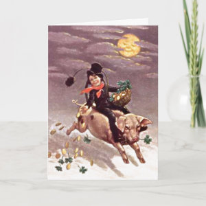 Vintage Boy on Pig Card