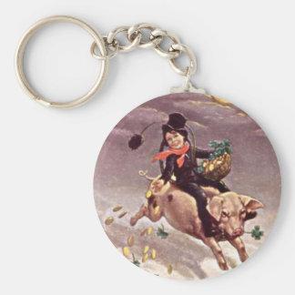 Vintage Boy on Pig Keychain