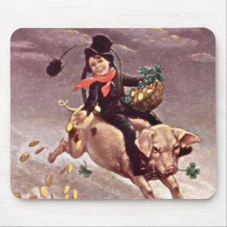 Vintage Boy on Pig Mouse Pad