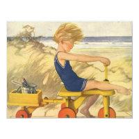 Vintage Boy on the Beach Baby Shower Invitation