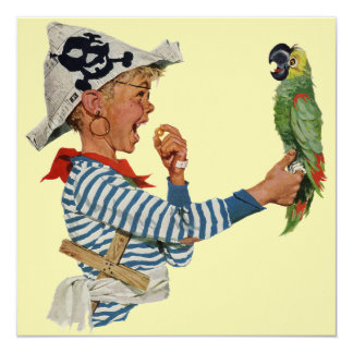 Vintage Boy Pirate Parrot, Child Birthday Party Card