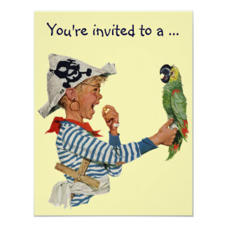 Vintage Boy Pirate Parrot, Child Birthday Party 4.25x5.5 Paper Invitation Card