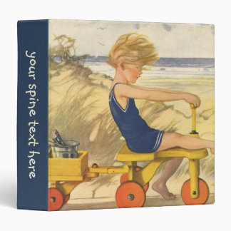 Vintage Boy Playing at the Beach with Sand Toys Binders