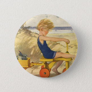 Vintage Boy Playing at the Beach with Sand Toys Button