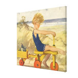 Vintage Boy Playing at the Beach with Sand Toys Stretched Canvas Prints