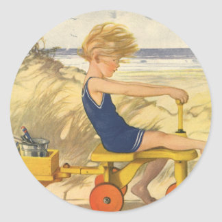 Vintage Boy Playing at the Beach with Sand Toys Classic Round Sticker