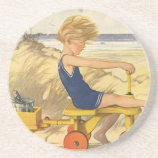 Vintage Boy Playing at the Beach with Sand Toys Drink Coaster