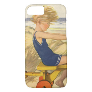 Vintage Boy Playing at the Beach with Sand Toys iPhone 8/7 Case