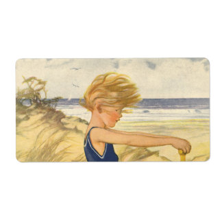 Vintage Boy Playing at the Beach with Sand Toys Shipping Label