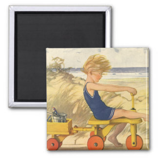 Vintage Boy Playing at the Beach with Sand Toys Magnet