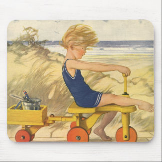 Vintage Boy Playing at the Beach with Sand Toys Mouse Pad