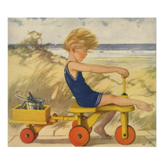 Vintage Boy Playing at the Beach with Sand Toys Poster