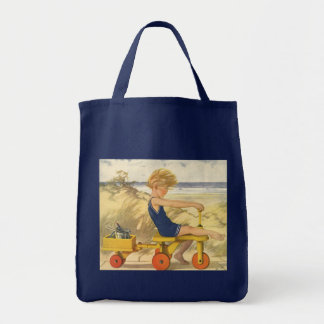 Vintage Boy Playing at the Beach with Sand Toys Tote Bag