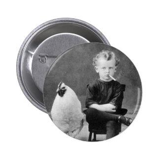 vintage - Boy Smoking with Chicken 2 Inch Round Button