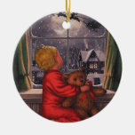 Vintage Boy Watching Santa Claus Fly Over Ceramic Ornament