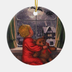 Vintage Boy Watching Santa Claus Fly Over Ceramic Ornament at Zazzle