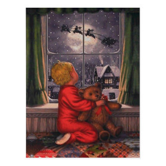 Vintage Boy Watching Santa Claus Fly Over Postcard