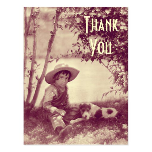 Vintage Boy With Dog At Rest Thank You Postcard