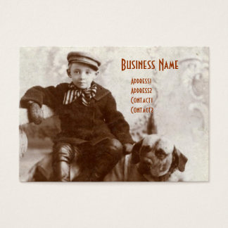 Vintage Boy With Dog Chubby Business Cards