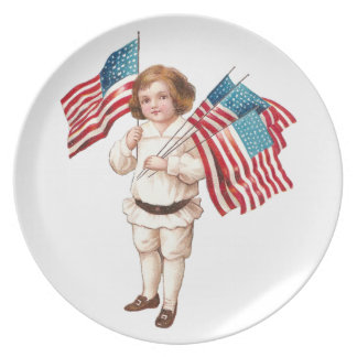 Vintage Boy with Flags Melamine Plate