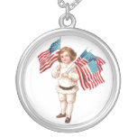 Vintage Boy with Flags Pendants