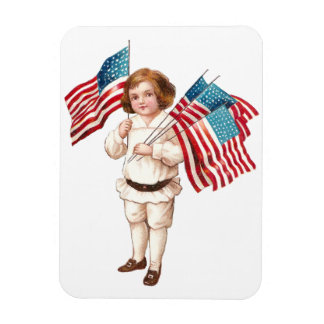Vintage Boy with Flags Rectangular Photo Magnet