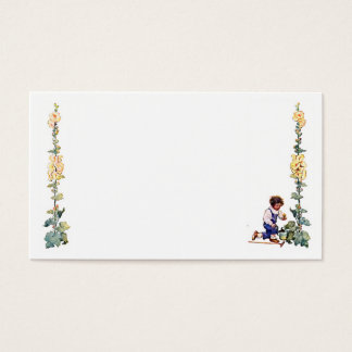 Vintage Boy with Flowers Business Card